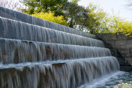 Waterfall falls of the Franklin Delano Roosevelt Memorial (FDR) in Washington D.C., USA
