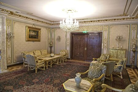 BUCHAREST, ROMANIA - MARCH 7, 2017: The Ceausescu Palace or sometimes called The Ceausescu Mansion or Spring Palace.  Was restored to how the Communist leader, Nicolae Ceausescu, and his family, lived between 1965 and 1989
