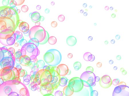 soap bubbles: Flying colored bubbles on white background