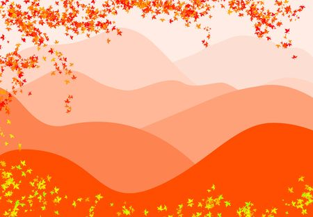 Mountains and branches whit leaves. Orange and yellow colors