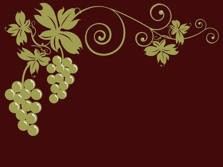 oenology: Golden bunches of grapes and leaves over brown background. Useful for greeting cards, postcards in theme with the autumn and the harvest, Internet sites about oenology, food and wine sale.