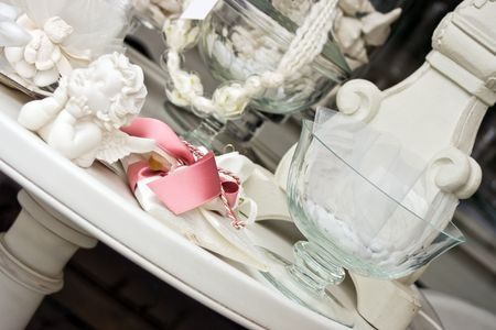 White celebration objects. Perfect for wedding, and baptism. Stock Photo