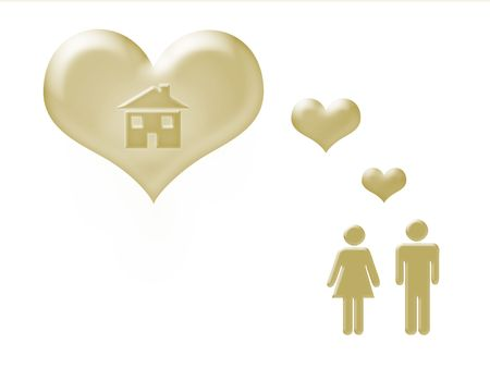 Illustration: a couple with a house dream in the heart. Golden isolated objects on white background.  Useful for real estate and home related professions. With clipping path.