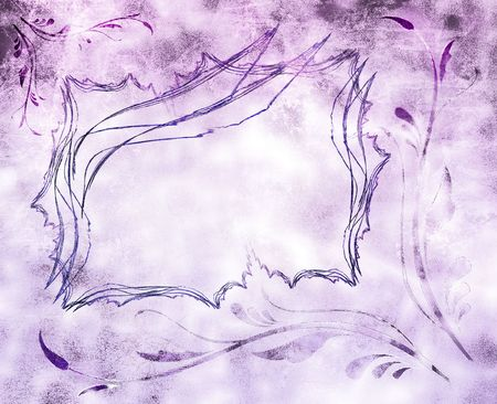 Illustration: rectangular grunge frame and art nouveau decorations. Dirty, stained, purple background. Useful for greeting cards, invitations, celebrations. Stock Photo