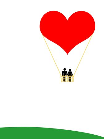 unusual valentine: A heart, a man, a woman, an unusual balloon for a wonderful flight towards the love. Space for copy. Honeymoon concept, also useful for wedding, anniversary, valentine day and any love recurrence.