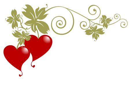 Golden branch with leaves and red heart fruits over white background. Useful for love messages, Valentines day, dates, anniversaries.