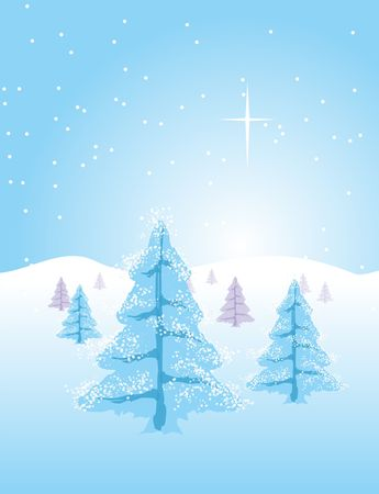 Winter or Christmas landscape. Trees full of snow and the comet star in the sky. Stock Photo