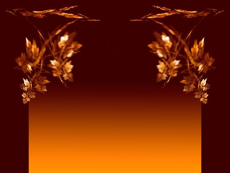 Branch with leaves in autumn colors. Orange and warm brown. Made from a fractal image. Space for copy.