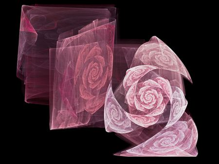 Pink texture illustration with roses over black background. It reminds to a precious transparent fabric for special occasion as wedding, anniversary, valentines day.