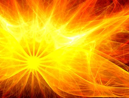 Abstract background suggesting the sun or a burning star. Fire, hot, energy, motion concept