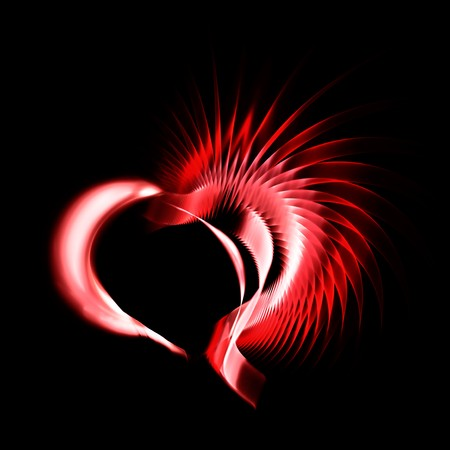 Metal heart with a red crest on black background. Space for copy. Useful for anniversary, valentines day and any love recurrence. photo