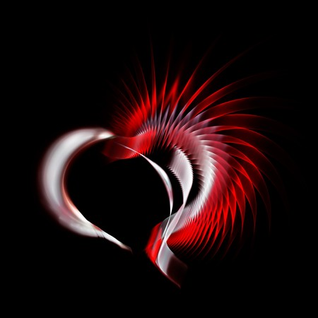 recurrence: Metal heart with a red crest on black background. Space for copy. Useful for anniversary, valentines day and any love recurrence.