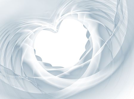 Romantic heart shape from a white bridal veil. Useful for celebrations like wedding, valentines day, anniversary. Stock Photo