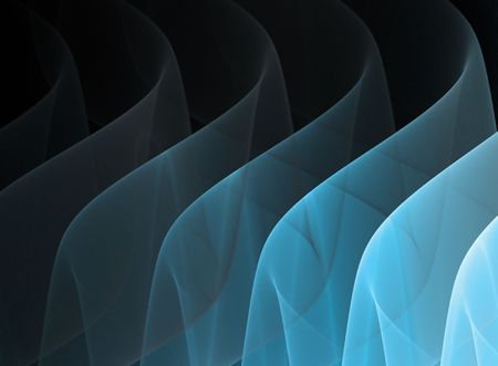 Blue waves on black background. Smoke, liquid, calm concept.
