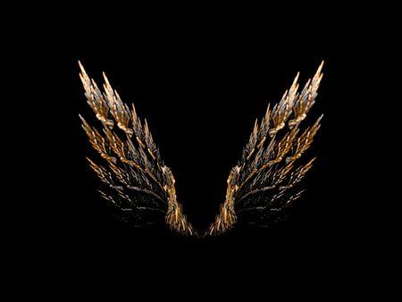 ali angelo: Open paio di ali d'uccello su sfondo nero.