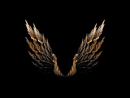 Open pair of bird wings on black background. Stock Photo