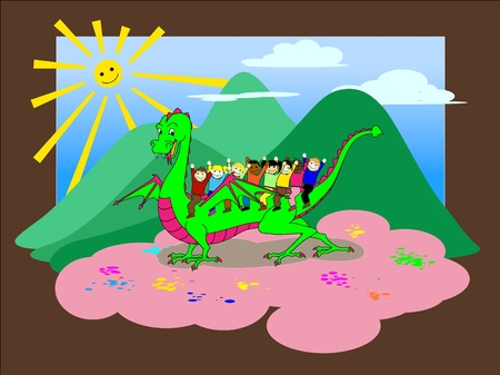 Happy children are riding a green funny dragon. Useful as greeting card or invitation to parties and birthdays. Happiness, joyful, friendship concept. Stock Vector - 13530678