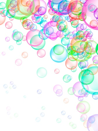 Colorful soap bubbles on white background. Also useful as fun, happiness, or spring concept.