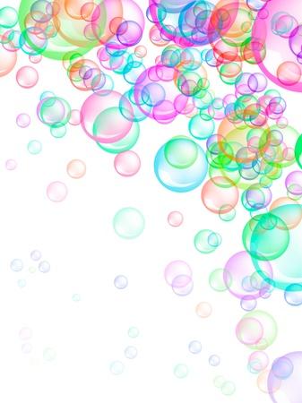 burbujas de jabon: Jabón Burbujas de colores sobre fondo blanco. También es útil como diversión, felicidad, o el concepto de primavera. Foto de archivo