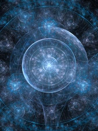 Résumé de fond, rappelant à une représentation cosmique. Aussi mystique, concept spirituel.