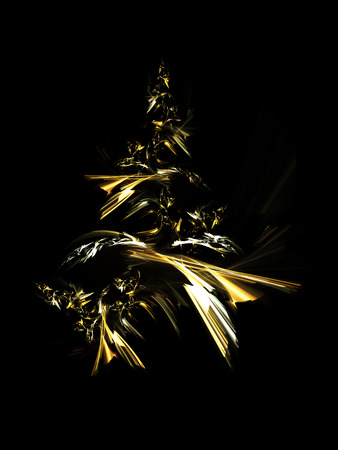 Golden christmas tree isolated on black background.