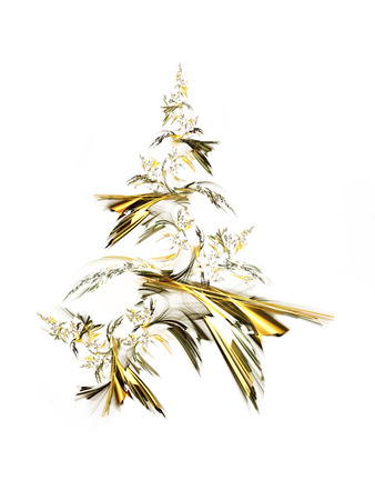 Golden christmas tree isolated on white background.