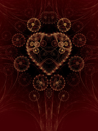 Steampunk abstract illustration with a heart made of gears.
