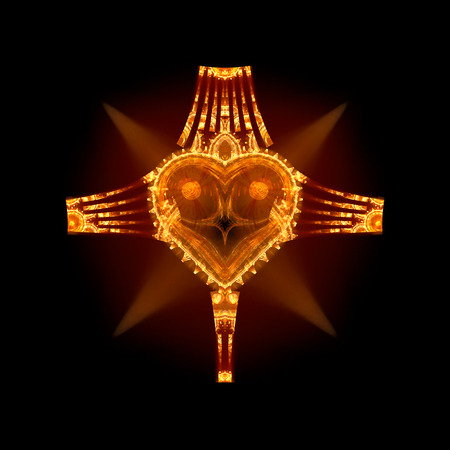 Illustration with a heart inside a cross isolated on black background. Symbol of christianity. Also useful for love events like anniversary or Valentine