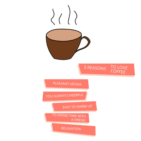 reasons: Poster cup of cofee, reasons to drink and love
