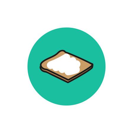 fryer: Morning breakfast bread web icon vector