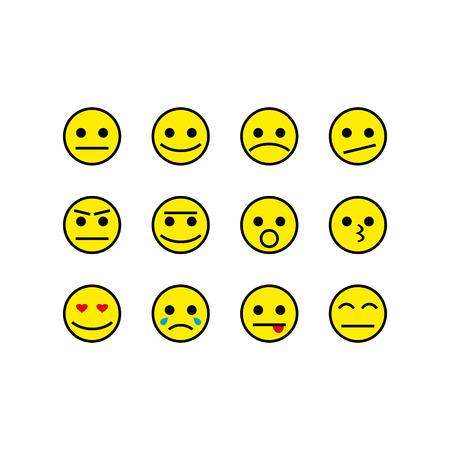 Set of smiley smile app smartphone icon vector