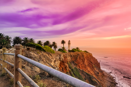 Point Fermin Lighthouse at Sunset Stock Photo