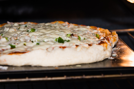 Pizza in the oven 스톡 콘텐츠
