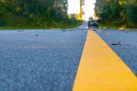 A close up of a road Stock Photo