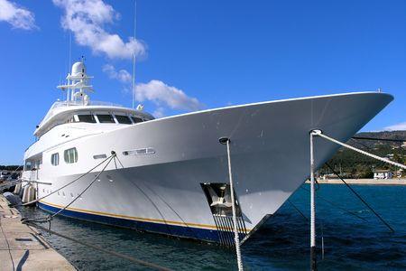 marina: Huge luxury yacht or superyacht