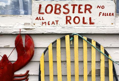 A Lobster Roll Sign at a Cape Cod Seafood Shack