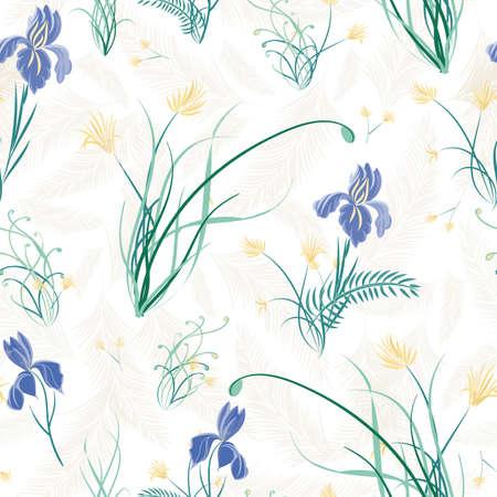 Purple Iris with yellow flowers seamless vector repeat pattern Illusztráció