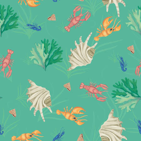 Green lobsters sealife seamless vector repeat pattern . Vector illustration Banque d'images