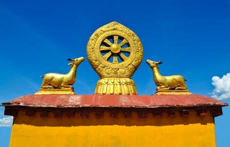 tibet: Wheel of Dharma in Jokhang Temple, Tibet, China Stock Photo
