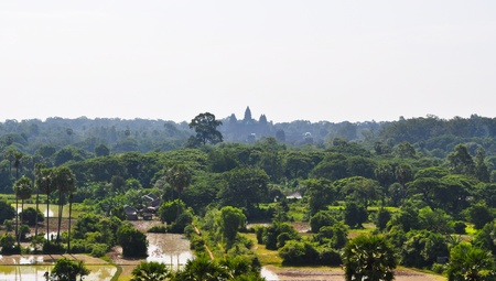 Aerial view of Angkor, WatSiem Reap,  Cambodia photo