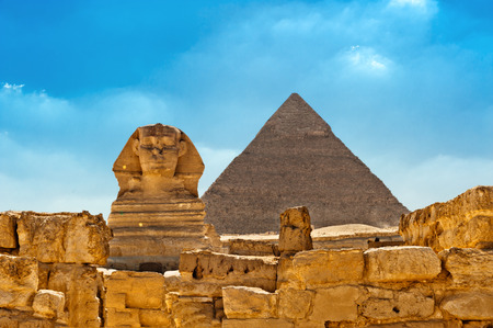 archaeology: The Sphinx with Pyramid in background, Egypt Cairo