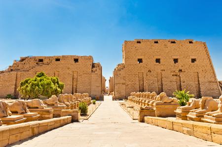 Ram 向かったスフィンクス、カルナック神殿, ルクソール, エジプト 写真素材