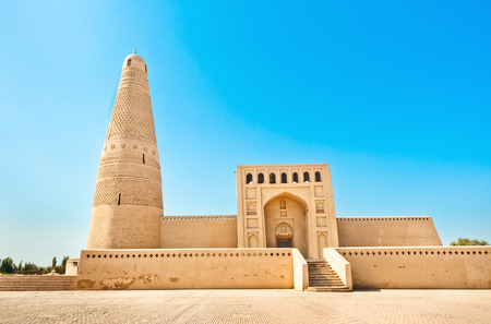 The Emin Minaret or Imin Ta stands by the Uyghur Mosque located in Turfan, Xinjiang, China  The tallest minaret in China
