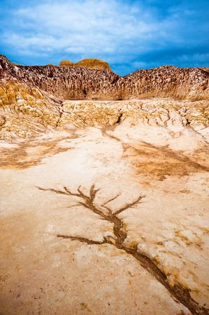 Dry river at Burqin yardang landform, Xinjiang, China