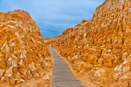Boardwalk at Burqin yardang landform, Xinjiang, China