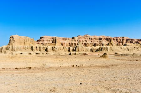 windy city: Yardang landforms-- Urho Ghost Castle in Karamay City, Xinjiang, China Stock Photo