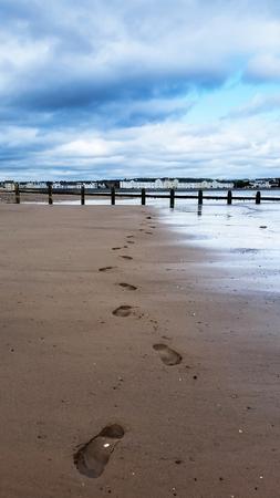 Steps on the beach, English Village, Dawlish Warren, Devon, UK