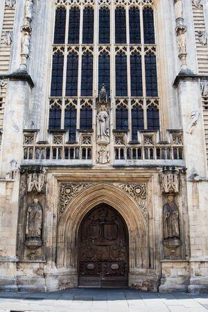 Gate to Bath Abbey in Bath, Somerset, England, Europe Фото со стока