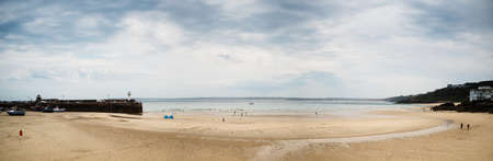 Panorama of St. Ives beach at low tide in Cornwall in England