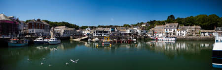 Panorama of Harbor in PADSTOW in Cornwall in England Фото со стока
